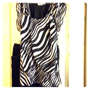 Ruffle zebra print dress shirt